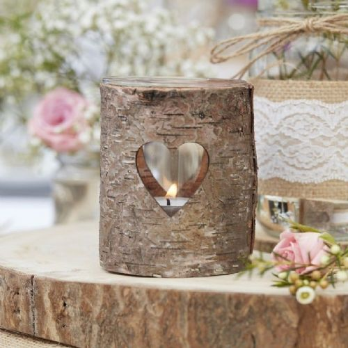 Wooden Heart Tealight Holder